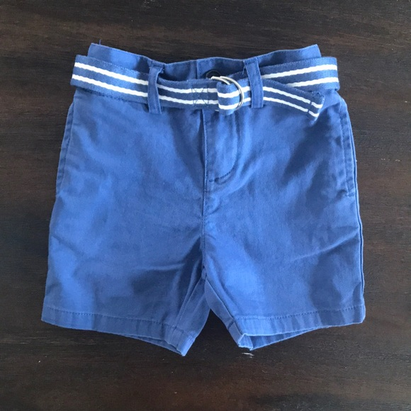 NWT Ralph Lauren Polo Girls/' Navy Khaki Belted Cotton Chino Shorts 2t 3t 4t NEW